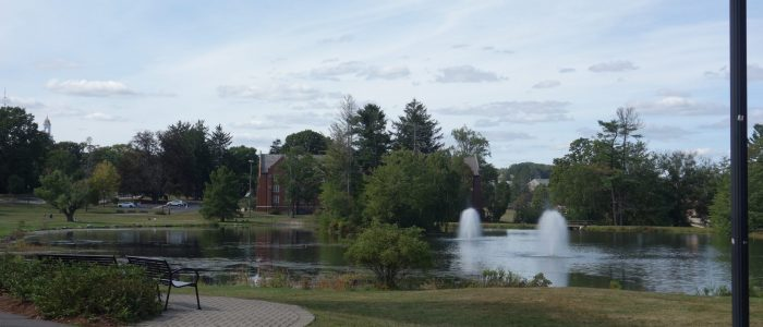 Image showing a view of Mirror Lake on the UConn campus.