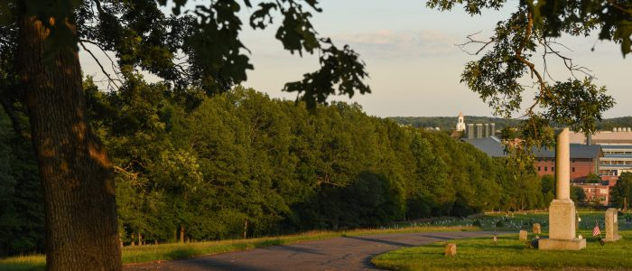 A view from the top of the hill in the Storrs Cemetery.