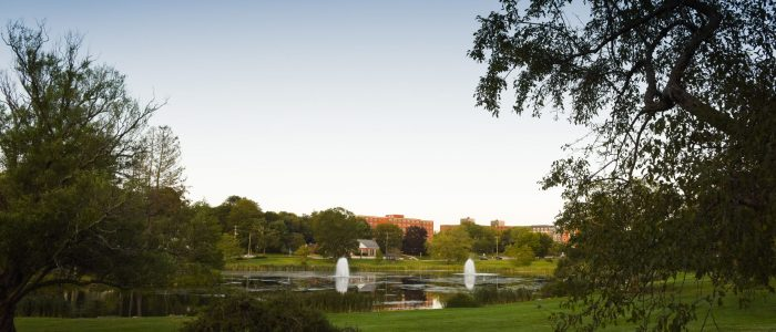 Mirror Lake on the UConn Campus in July, 2017.