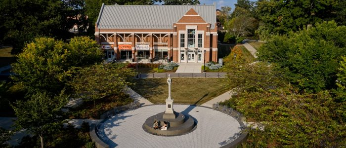 Image of the Waugh Sundial near the Benton Museum of Art, UConn Storrs Campus 2020.