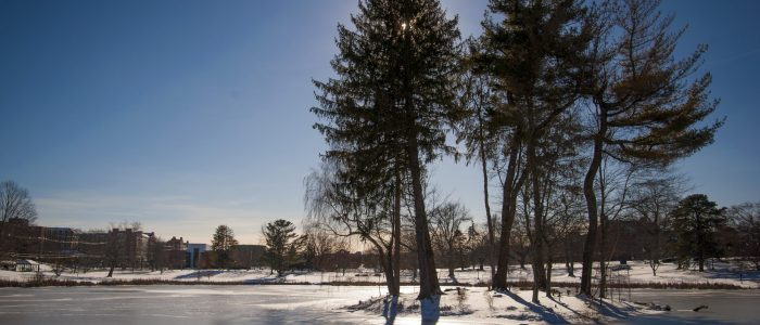 Image of mirror Lake with snow and ice.