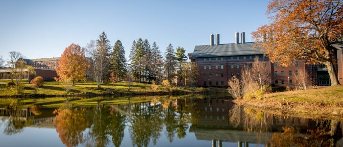View of Swan Lake and the Chemistry Building on the UConn Campus in November, 2016.